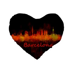 Barcelona City Dark Watercolor Skyline Standard 16  Premium Heart Shape Cushions by hqphoto