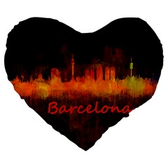 Barcelona City Dark Watercolor Skyline Large 19  Premium Heart Shape Cushions by hqphoto