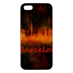 Barcelona City Dark Watercolor Skyline iPhone 5S Premium Hardshell Case by hqphoto