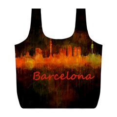 Barcelona City Dark Watercolor Skyline Full Print Recycle Bags (l)  by hqphoto