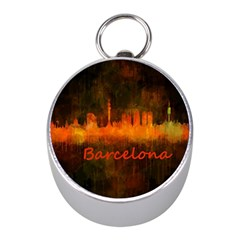 Barcelona City Dark Watercolor Skyline Mini Silver Compasses by hqphoto
