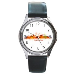 Barcelona City Art Round Metal Watches by hqphoto