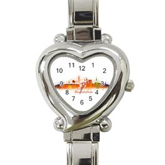 Barcelona City Art Heart Italian Charm Watch by hqphoto
