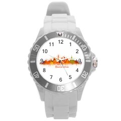 Barcelona City Art Round Plastic Sport Watch (l) by hqphoto