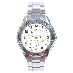 Pastel Random Triangles Modern Pattern Stainless Steel Men s Watch