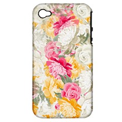 Colorful Floral Collage Apple iPhone 4/4S Hardshell Case (PC+Silicone) by Dushan