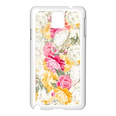 Colorful Floral Collage Samsung Galaxy Note 3 N9005 Case (white) by Dushan