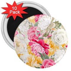 Colorful Floral Collage 3  Magnets (10 Pack)  by Dushan