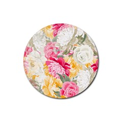 Colorful Floral Collage Rubber Round Coaster (4 Pack)