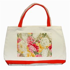 Colorful Floral Collage Classic Tote Bag (red)  by Dushan