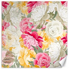 Colorful Floral Collage Canvas 12  X 12   by Dushan