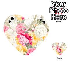Colorful Floral Collage Playing Cards 54 (heart)  by Dushan