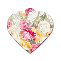 Colorful Floral Collage Dog Tag Heart (two Sides) by Dushan