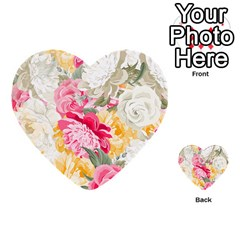 Colorful Floral Collage Multi Purpose Cards (heart)