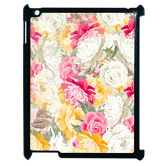Colorful Floral Collage Apple Ipad 2 Case (black) by Dushan