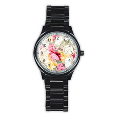 Colorful Floral Collage Stainless Steel Round Watches
