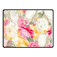 Colorful Floral Collage Double Sided Fleece Blanket (small)  by Dushan