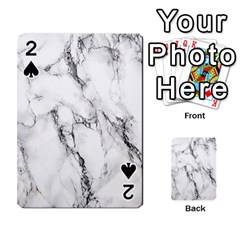 White Marble Stone Print Playing Cards 54 Designs