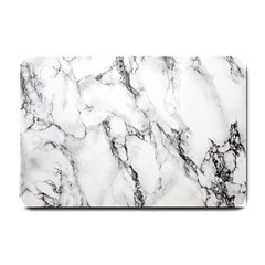 White Marble Stone Print Small Doormat  by Dushan