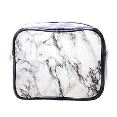 White Marble Stone Print Mini Toiletries Bags by Dushan