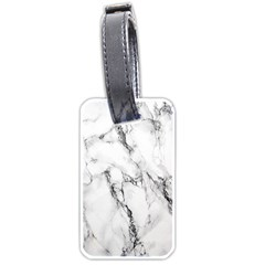White Marble Stone Print Luggage Tags (one Side)  by Dushan