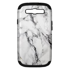 White Marble Stone Print Samsung Galaxy S III Hardshell Case (PC+Silicone) by Dushan