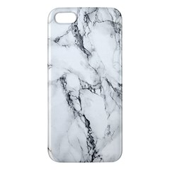 White Marble Stone Print Iphone 5s Premium Hardshell Case by Dushan