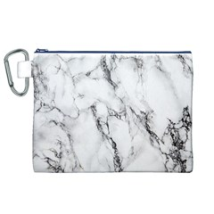 White Marble Stone Print Canvas Cosmetic Bag (XL)  by Dushan