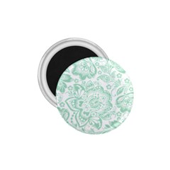 Mint Green And White Baroque Floral Pattern 1 75  Magnets by Dushan
