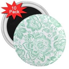 Mint Green And White Baroque Floral Pattern 3  Magnets (10 Pack)  by Dushan