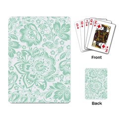 Mint Green And White Baroque Floral Pattern Playing Card by Dushan