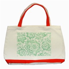 Mint Green And White Baroque Floral Pattern Classic Tote Bag (red)  by Dushan