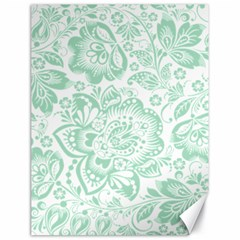 Mint Green And White Baroque Floral Pattern Canvas 18  X 24   by Dushan