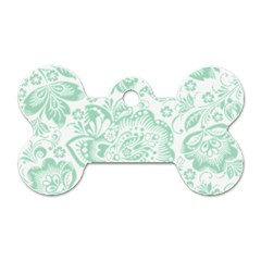 Mint Green And White Baroque Floral Pattern Dog Tag Bone (one Side) by Dushan