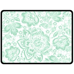 Mint Green And White Baroque Floral Pattern Fleece Blanket (large)  by Dushan