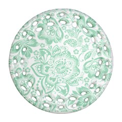 Mint Green And White Baroque Floral Pattern Ornament (round Filigree)  by Dushan
