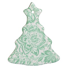 Mint Green And White Baroque Floral Pattern Christmas Tree Ornament (2 Sides) by Dushan