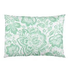 Mint green And White Baroque Floral Pattern Pillow Cases (Two Sides) by Dushan