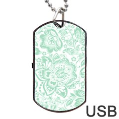 Mint green And White Baroque Floral Pattern Dog Tag USB Flash (One Side) by Dushan