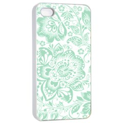 Mint Green And White Baroque Floral Pattern Apple Iphone 4/4s Seamless Case (white) by Dushan