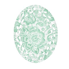 Mint Green And White Baroque Floral Pattern Oval Filigree Ornament (2 Side)  by Dushan