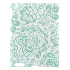 Mint Green And White Baroque Floral Pattern Apple Ipad 3/4 Hardshell Case by Dushan