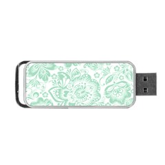 Mint Green And White Baroque Floral Pattern Portable Usb Flash (one Side) by Dushan