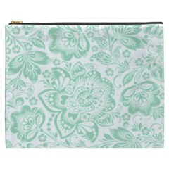 Mint Green And White Baroque Floral Pattern Cosmetic Bag (xxxl)  by Dushan