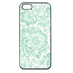 Mint Green And White Baroque Floral Pattern Apple Iphone 5 Seamless Case (black) by Dushan