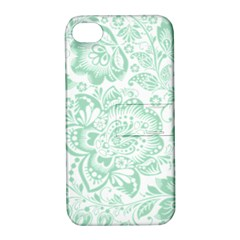 Mint Green And White Baroque Floral Pattern Apple Iphone 4/4s Hardshell Case With Stand by Dushan