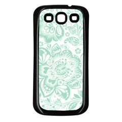 Mint Green And White Baroque Floral Pattern Samsung Galaxy S3 Back Case (black) by Dushan