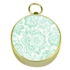 Mint Green And White Baroque Floral Pattern Gold Compasses by Dushan