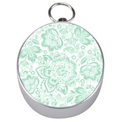 Mint green And White Baroque Floral Pattern Silver Compasses by Dushan
