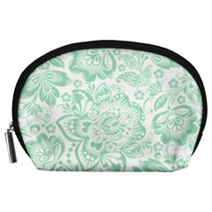 Mint Green And White Baroque Floral Pattern Accessory Pouches (large)  by Dushan